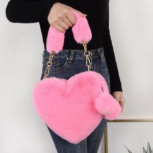 Faux Fur Winter Women Handbags Cute Plush Ladies Heart Shaped Shoulder Bag Female Clutch Purse Love Messenger