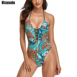 Riseado Lace up Sexy One Piece Maillot de bain Halter Maillot de bain Femmes Léopard Maillot de bain pour Femmes Dossier Beachwear 2021 été