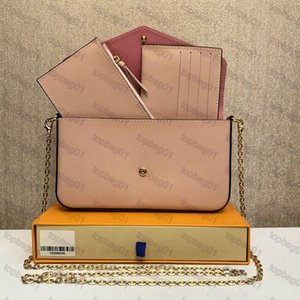 3 pcs set multi Pochette Felicie women shoulder bag accessories Crossbody Purse Desinger Handbags Flowers with box M80498 M61276