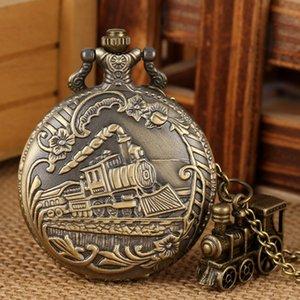 Vintage Bronce Cuarzo Reloj de bolsillo Tren Locomotora Motor Collar Colgante Cadena Los mejores regalos para hombres mujeres con accesorio de tren