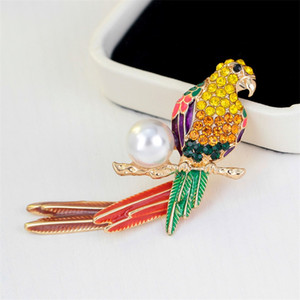 Animal Cute Crystal enamel pearl parrot brooch Birds Brooches for Women Multi Color Rhinestone Gold Plated Jewelry Drop Ship 204 U2
