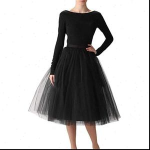 5 слоев MIDI линия TUTU Tulle юбка с высокой талией плиссированные юбки женские винтажные Lolita Ball платье Летние Saias Jupe