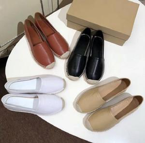 Clasics Mocasines Mujeres Espáquidos zapatos planos lienzo y accesorios de piel de cordero real de dos tonos toe de punta de pie zapatos casuales HM011 CH01