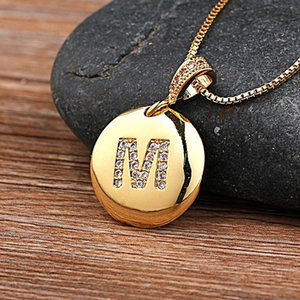 Chains Fashion 26 Letters Pendant Necklace For Woman Girls Cute Gold Color Copper Zircon Round Fine Party Wedding Jewelry
