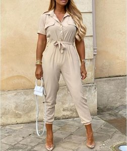 Casual Solid Color Summer Deep Womens Romper V Neck Button Shirt Short Sleeve Office Lady One Piece Belt