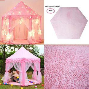 1p Tent Hexagon Princess Castle Playhouse Pad Non-slip Baby Play Mat Plush Mats Kids Play Rug Pad Cushion Blanket Pink#g30