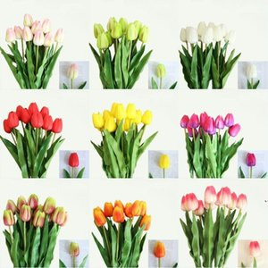 Tulip Artificial Flower White PU Real Touch for Home Decoration Fake Tulips Latex Flowers Bouquet Wedding Garden Decor DWD5268