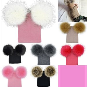 2020 Pom Vieeoease Winter Kids Knit Beanie Photography Faux Fur Hat Knit Cap Warm Hats with Double Fur Balls on Top CC-782 303H4