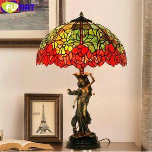 """Fumat Table Lamp Stiffany Style Rose Flower Bouquet Manchado Forma Colorida Marco de cobre Dimagen Escritorio Luz de Lujo Arte 16 """""""