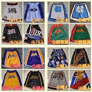 Mens North Carolina Stitched Basketball Shorts Los AngelesLakersJust Basketball Shorts Don Mesh 76erMitchell&Ness Basketball