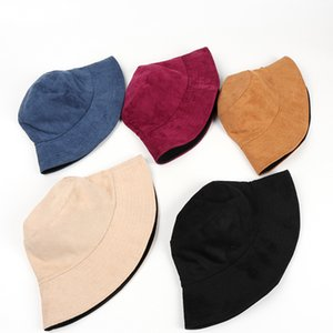 2020New Autumn and Winter Double-sided Suede All-match Pure Black Fisherman Mens Hats Winter Hat Men Designers Beanie Hats