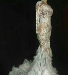 Evening dress Ball gown Sweetheart Wedding dress Silver Crystals Mermaid Feather Kim kardashian Kendal jenner Kylie jennor dress in stock