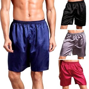 Men Summer Sleepwear Satin Silk Boxers Short Pants Nightwear Solid Casual Home Indoor