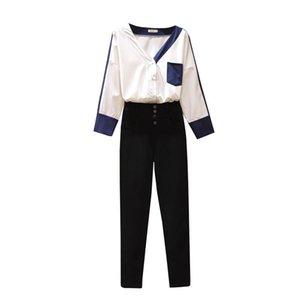 الخريف ساحات كبيرة أصغر الشقيقة الكورية الأزياء الخامس الرقبة قميص طماق السراويل السوداء الزي المرأة اثنين من قطعة الزي فضفاضة أعلى البدلة