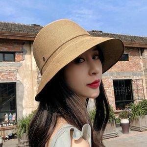 Женщины дикая соломенная шляпа старинные летние открытый пляж солнце шляпы личности асимметрия дизайн рыболов шляпы нежный подарок
