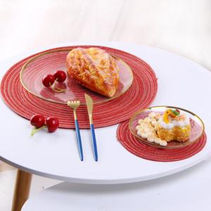 11cm 18cm 30cm 36cm 38cm Woven Placemats 9 Colors Dining Table Mat Heat Resistant Non-slip Coaster Place Mat Wedding Party Decor Table Pad