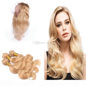 Brazilian Body Wave 27 Human Hair Weaves With Pre Plucked 360 Lace Frontal Honey Blonde 360 Lace Frontal With 27 Hair Bundles