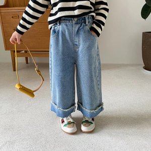 AMBB Korean Newest Spring Summer Kids Girls Jeans Loose Trousers Quality Stylish Designs Elastic Waist Autumn Children Unisex Pants