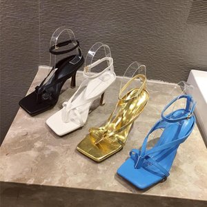 2021 Summer Women 9cm High Heels Strap Gold Blue Sandals Fetish Sandles Lady Gladiator Stripper Sexy Luxury Design Brand Shoes