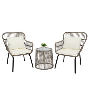 WACO 3-Piece Patio Garden Conversation Set, PE Wicker Rattan Outdoor Furniture Set, w 2 Single Chairs, 1 Glass Top Side Table, Tan