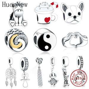 Huoonew Ajuste original Pandora Charm Bracelet 925 Sterling Silver Blanco Blanco Esmalte Tai Chi Yinyang Beads Haciendo Regalo Berloque Q0225