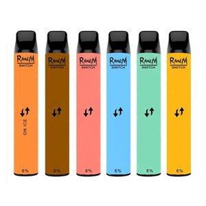 정통 RandM 스위치 2in1 일회용 포드 장치 2400puffs vape 펜 1100mAh 전자 담배 8ml 키트 DHL 무료 18 옵션 비 충전식