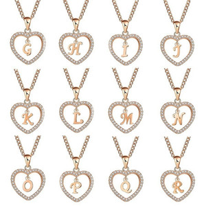 Classic Rose gold 26 Letter Diamond Paved Love Heart Pendant Necklace Alphabet A-Z Initial Letter Necklace Womens Jewelry Gift 166 T2