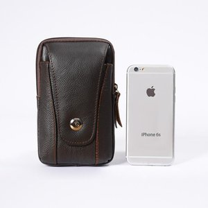 Waist Bags Men Genuine Leather Fanny Pack Male Bag Belt Pokcet Mobile Phone Pockets Vintage Money Coin Purse QB513
