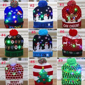Рождественские шляпы украшения для взрослых и детей красочные светящиеся вязаные высококлассные Santa Claus Hat Gyqqq