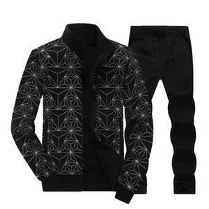 2021 New YDTOMM Haute Qualité 2021Autune Two Piece Set occasionnel Vestes de fermeture à glissière imprimée géométrique + pantalons Homme TrackSuit L-8XL 4CPO