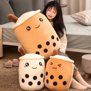 50cm Cartoon Bubble Tea Cup Shaped Pillow Stuffed Soft Back Cushion Funny Boba Food Doll Toys Children Birthday Gift Room Decor Q0113