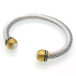 2021 men bracelet jewelry titanium steel two color open bracelet fashion bag stainless steel cable bracelet steel wire bangle Punk Style