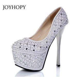 Joyhopy 2021 New 16CM Super High Caels Сексуальные Женщины Ночной клуб Платформа Обувь для Платформы Круглые Тое Насосы Дамы Свадебные Кристаллические Обувь WP1113