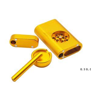 Metal Dugout Case Tobacco Pipe Set 3 In 1 Metal One Hitter Kit Combo Metal Grinder + Straight Smoking Pipe + Tobacco Pipe Case EWF5192