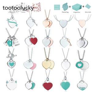 tiff necklace 925 silver pendant necklaces female jewelry exquisite craftsmanship with official logo classic blue heart wholesale Luxury designer Bracelet + box