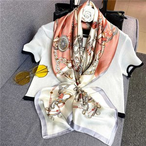 2021 spring style new 90 square Korean color matching little fresh silk scarf hairband girl 5S8A