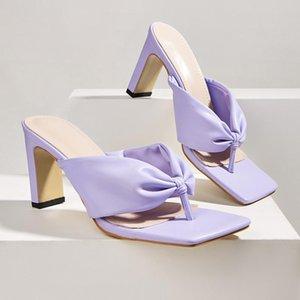 Женские тапочки сандалии повседневная флопса желтые сандалии на высоком каблуке летние ползунки обувь женщин квадратный тонг Femme