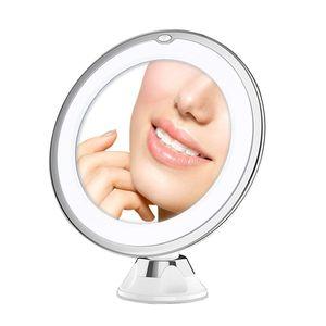 10X Magnifying Vanity Lights Makeup Mirror Daylight LED Compact Cordless Locking Suction 360 Rotation Portable Illuminated Bathroom crestech168