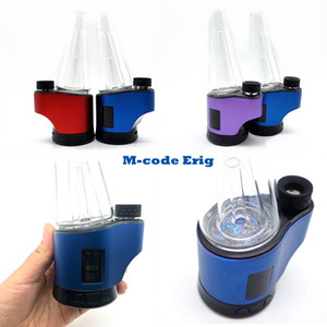 M-CODE Enail Wax Vaporizer Glass Pipe Concentrate Shatter Budder Dabs Rig Water Pipe Temperature Control 7 Color Lighting 2600mAh Battery