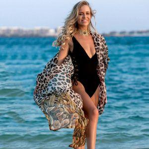 Sell Like Cakes Summer 2020 Beach Cover Up Women Chiffon Robe Leopard Print Kaftan Bikini Cover-up Tunic Sarong Swimsuit Sunscreen Hot