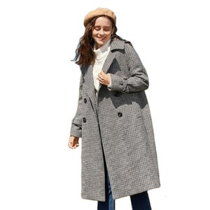 Semir Women Checked Wool Blend Overcoat Satin Lined Women's Long Double-breasted Coat with Adjustable Tab at Cuffs Chic Style