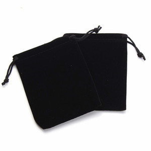 100 Pcs 5cm*7cm,7cm*9cm Black Cloth Pouches Wedding Favor Velvet Cloth Bags with Drawstring Jewelry Gift Bags for Party, Jewelry, Festival