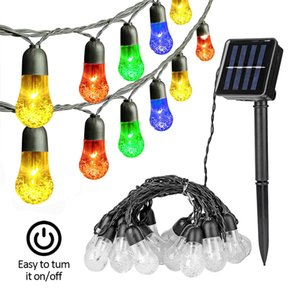 G40 Solar String Lights 30 LEDs Crystal Ball Patio Light 8 Modes Waterproof Lawn Lamp for Party Wedding Garden Yard Christmas Decorations