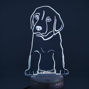 3D LED Night Light Labrodore Puppy 16 Color Touch Switch   Remote contoller Led Lights USB Powered Night Light Atmosphere Novelty Lighting