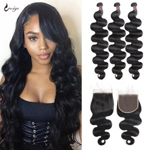 Lace Wigs UWIGS Body Wave Bundles With Closure Human Hair 5x5Closure 3Bundles