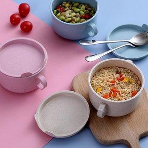 Bowls Creative Student Japanese-Style Instant Noodle Bowl With Lid, Salad Handle Children'S Ramen Kitchen Accessories