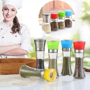 Home Stainless Steel Manual Salt Pepper Mill Grinder Seasoning Bottle Grinders Glass Kitchen Accessaries Tool Premium Salts HHF10323