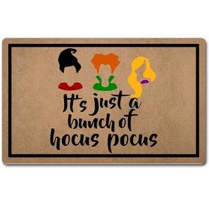 وسادة / وسادة الزخرفية المطاط باب الباب الخلفي حصيرة، انها مجرد الكثير من المرح ممسحة الطريق للهكوس pocus هالوين سعيد. مرحبا، مطبخ المضادة للانزلاق