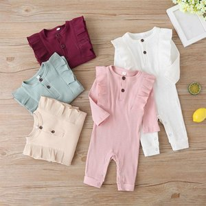 kids clothes girls boys Solid colors romper newborn infant ruffle Sleeve Jumpsuits 2021 Spring Autumn baby Climbing clothes