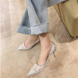 Giyu new style women's shoes new style single shoe versatile go with work women's shoes pointy leisure party high heel gauze com 210226